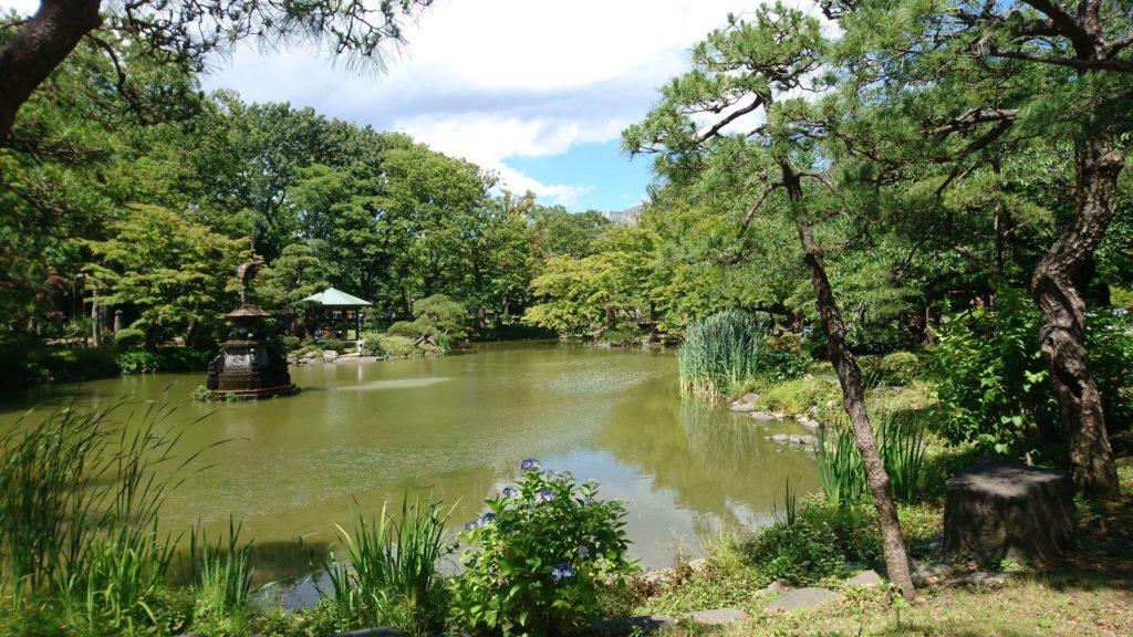 雲形池,日比谷公園,年金デモ,鶴,